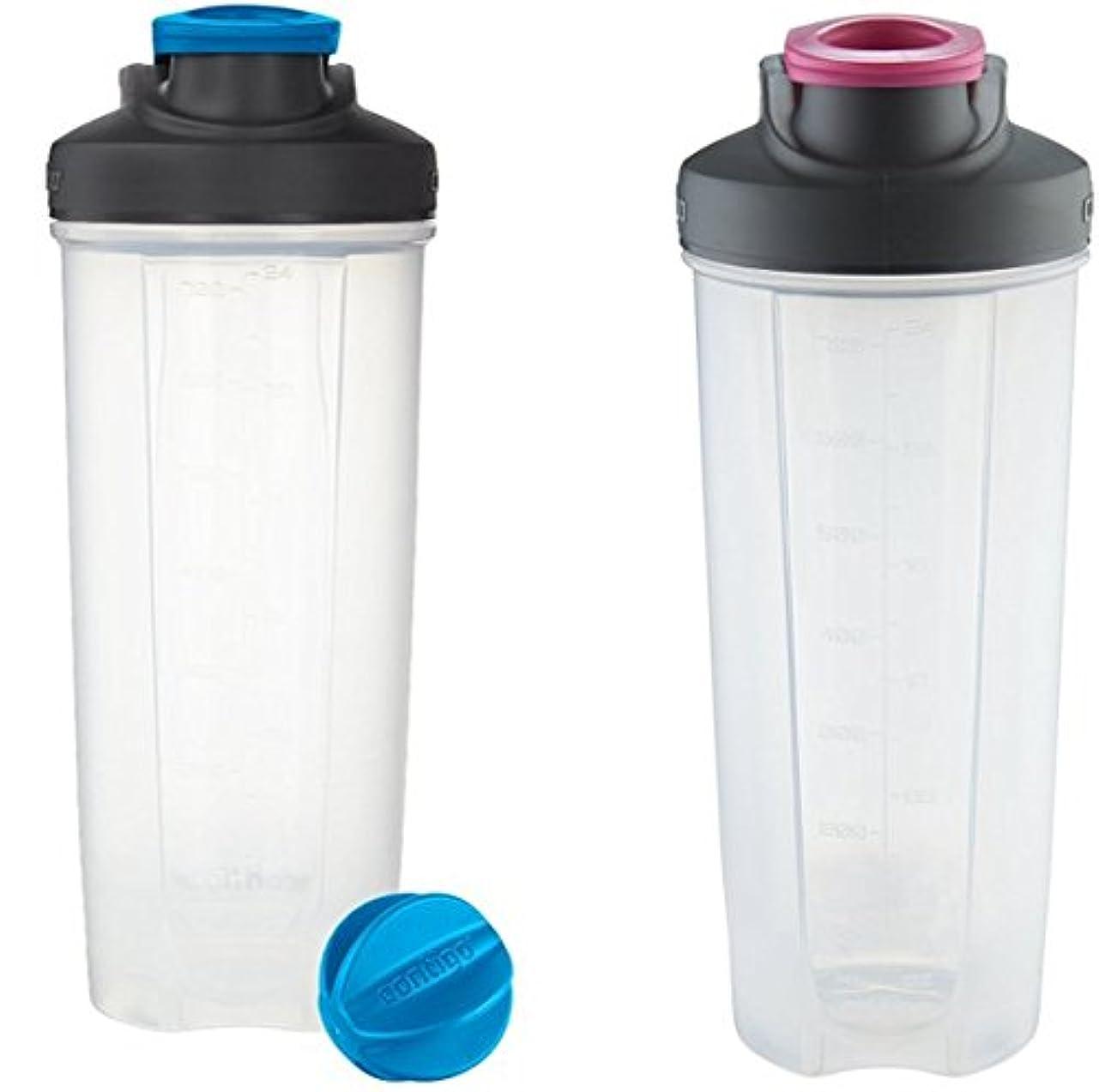 サイクロプス適度に文Contigo Shake & Go Fitミキサーボトル、ブルー&ピンク28oz