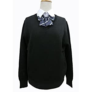 スクールセーター(MS1000)男女兼用 Vネック ウール100% 丸洗いOK 毛玉防止 紺 黒 (<5>M, 黒(X))