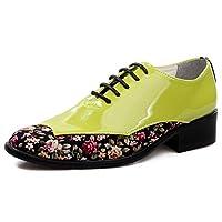 [WEWIN] カジュアルシューズ メンズ エナメル 革靴 レースアップ 紳士靴 内羽根 ロングノーズ ドレスシューズ 防滑 通気 軽量 柔らかい ファッション