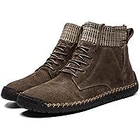 Heyean Snow Boots for Men, Outdoor Sneaker, Leather Mid Ankle Low Heel Warm Comfortable Slip on Men's Shoes