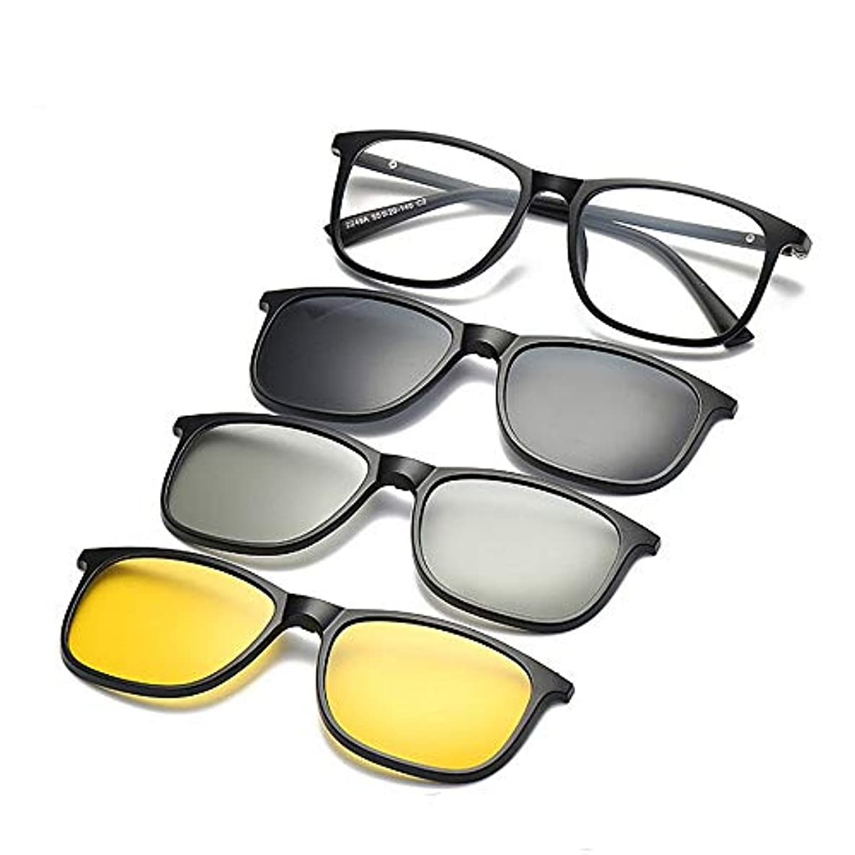 買うワーム恐れるサングラス サングラス 男女 レトロ 偏光 3枚の交換レンズ付き 3Dレンズ TR90フレーム クリップオン 紫外線保護 磁気サングラス, ファッションサングラス