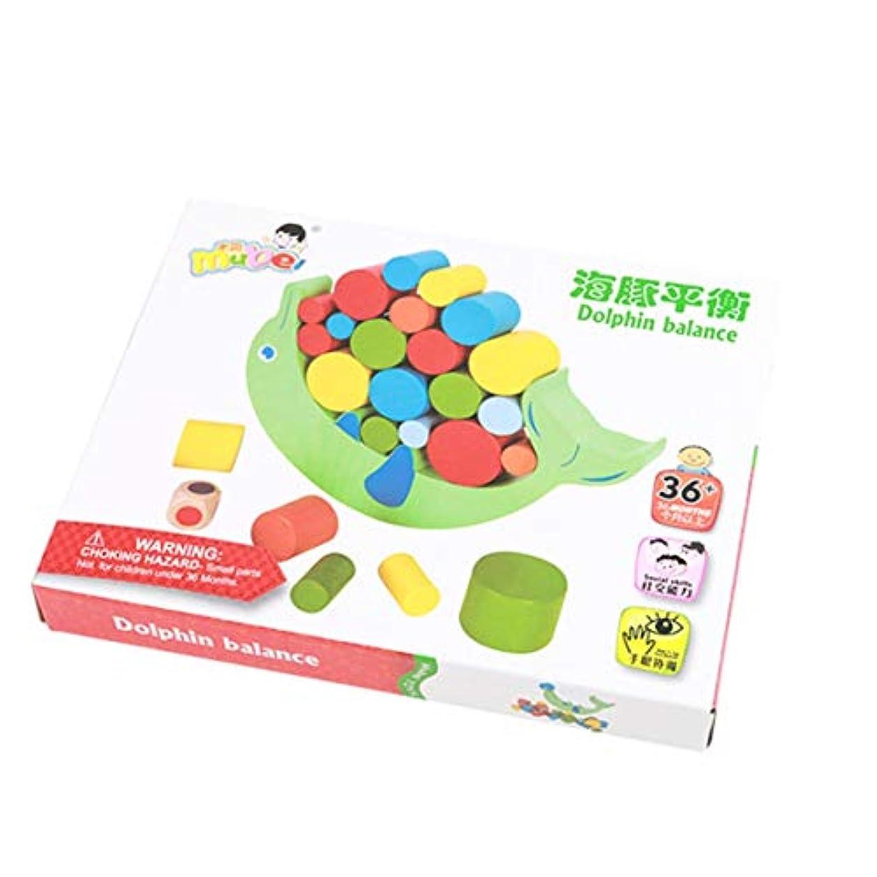 うがい多様なゼロクリエイティブウッドイルカバランスゲームブロック赤ちゃんのおもちゃ子供ハンズオンおもちゃ建物バランスブロック3歳用マルチカラー