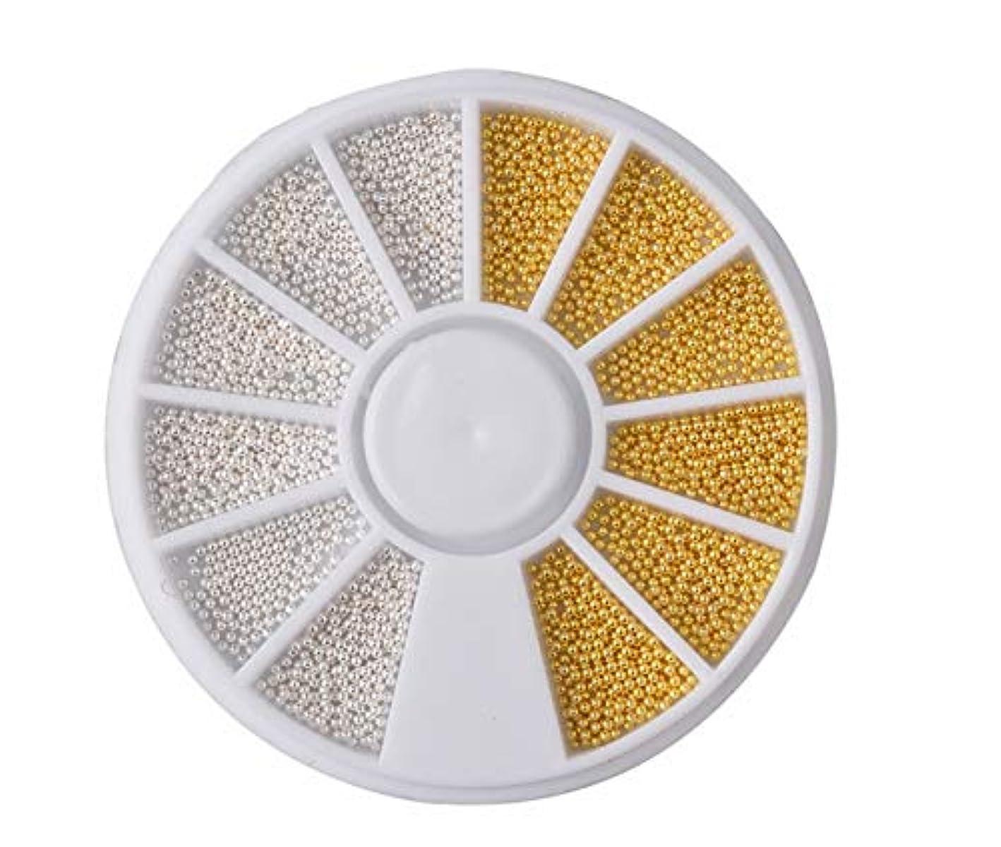 ブロックパイロットペインTianmey ミニ鋼球キャビア大ビーズの3Dネイルデコレーションマニキュアネイルアートアクセサリーデコレーションマニキュアツール (Color : White and gold)