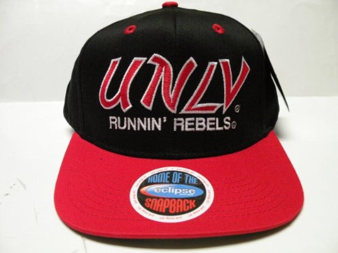 後行う剃るラスベガスネバダ州NCAA UNLV Rebelsスクリプトブラック2トーンスナップバックキャップ