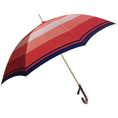 NOBEL(ノーベル) 傘 レディース 日本製 雨傘 長傘 ジャンプ ワンタッチ 甲州織り 朱子格子織り ダブルボーダー柄 おしゃれ (ネイビー)
