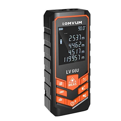 LOMVUM レーザー距離計 携帯型 距離測定器 単一距離測定/連続測定/面積/体積/ピタゴラス直接測定/ピタゴラス間接測定 自動計算 コンパクト 校正機能 日本語説明書付き (50m)