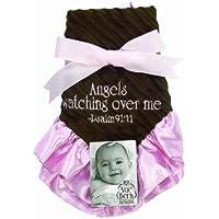 Sue Berk Designs Angels Watching Over Me Baby Blankie, Pink/Brown by Sue Berk Designs