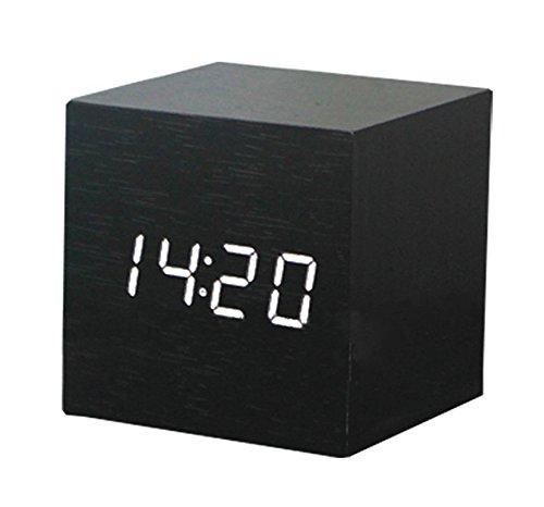 三つタンポポ 置き時計 デジタル おしゃれ 木製 目覚まし時計 音声感知 カ...