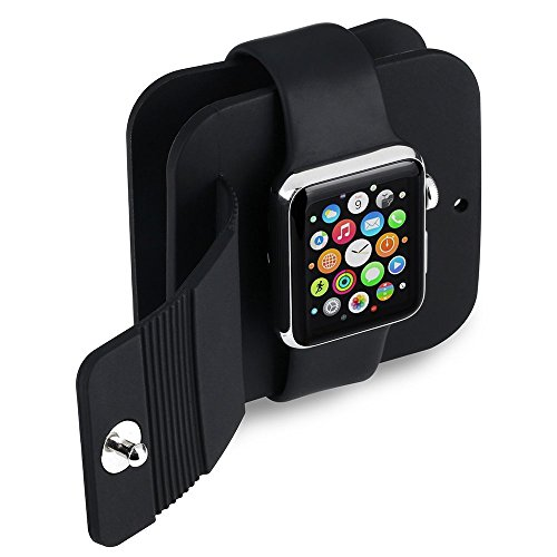 Qtuo Apple Watch 収納バッグ アップルウォッチ用 充電ケーブル収納ケース 持ち運び便利 全機種対応 38mm 42mm Apple Watch Charging Wallet ブラック