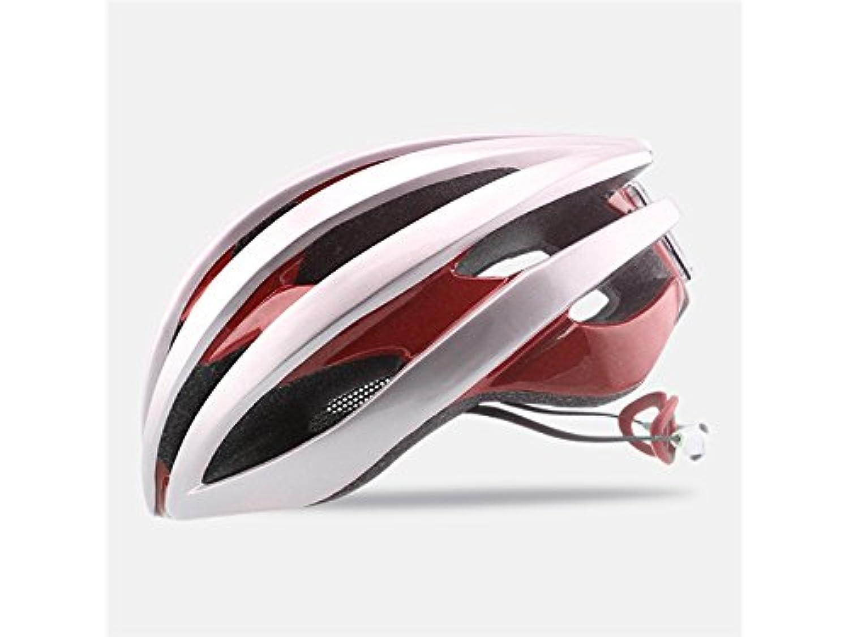 Osize メンズ女性多孔質換気マウンテンバイクヘルメット調整可能なワンピースの乗馬ヘルメット(レッド+ホワイト)
