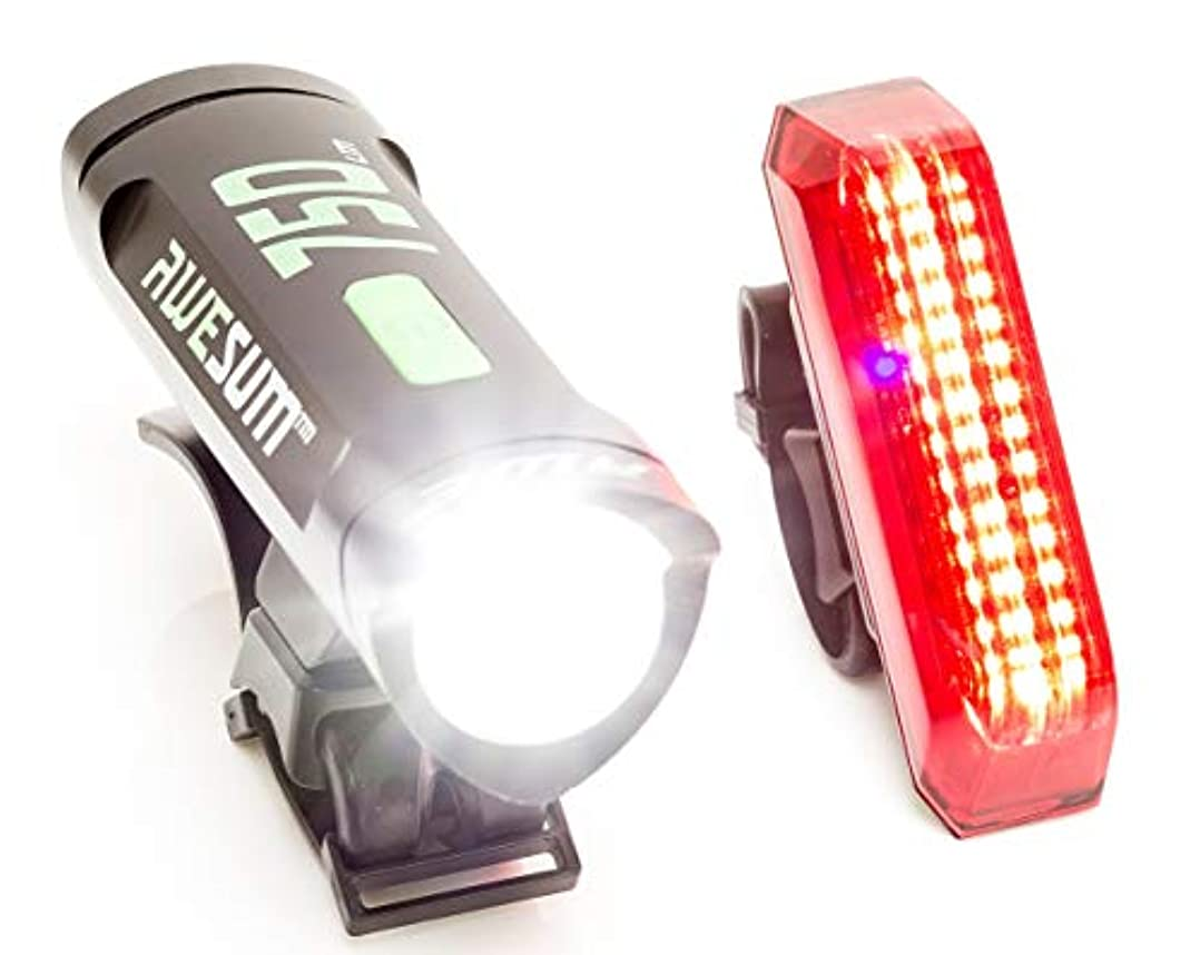 冒険伴うテーマAWE 750ALARM USB充電式 自転車用 前方& 後方 ライトセット 眼が眩むほど明るい! 780ルーメン 80デシベルの強力アラーム!