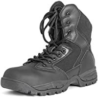 Mens Mil Safety Leather Work Durable Rubber Sole Steel Toe Cap Boots
