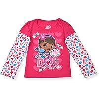 Disney Doc McStuffins Girl's Long Sleeve Layered Tee Shirt, Pink