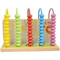 Tuersuer 早期子供用 おもちゃ 木製 5つビーズ アバカス 子供用 ベビーカウンター 計算用ラック (マルチカラー)