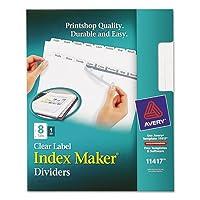 インデックスメーカークリアラベルディバイダー、8-tab、手紙、ホワイト、合計24St , Sold as 1カートン