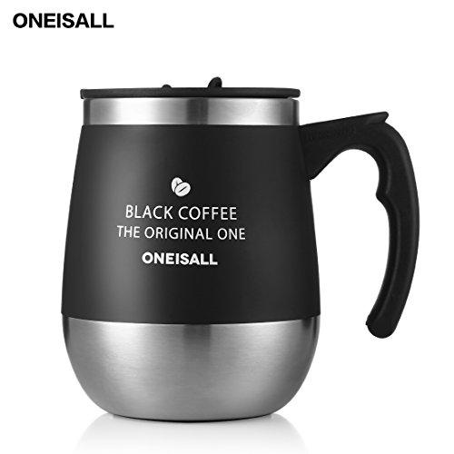 保温マグカップ ONEISALL タンブラー 450ML 専門店 真空断熱タンブラー コーヒー用ボトル 蓋付きカップ おしゃれ 彼女、彼氏にプレゼント 恋人 学生にギフト(ブラック)