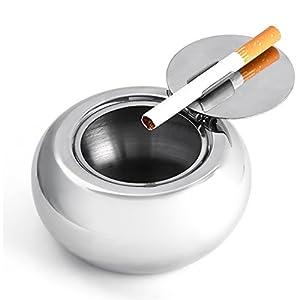 Smart Worker 灰皿 ふた付き ステンレス 大容量 丸型 煙と臭いを遮断