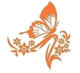 蝶 チョウ 蝶々 ちょう アゲハ蝶 アゲハチョウ 昆虫 花 はな フラワー シルエット ステッカー シール デカール (オレンジ)