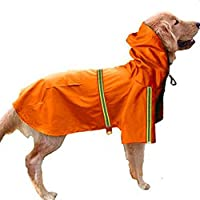 インコートペット ペットレインコート 犬用 小中大型犬 カッパ 雨具 反射テープ付き 帽子付 通気 完全防水 耐久性 快適 多色 多サイズ 対応 XL-5X サイズ 9-14kgのペット オレンジ
