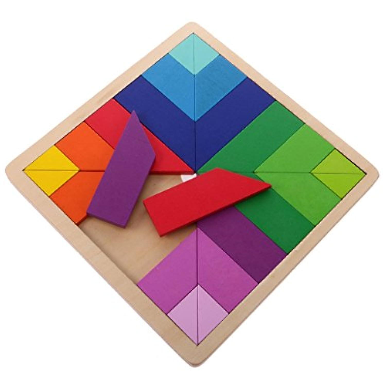 kamsolマルチカラー木製ビルディングブロックボードtan-gramジグソーパズルTetris For子供赤ちゃん早期教育学習Wooden Toys Square Shape