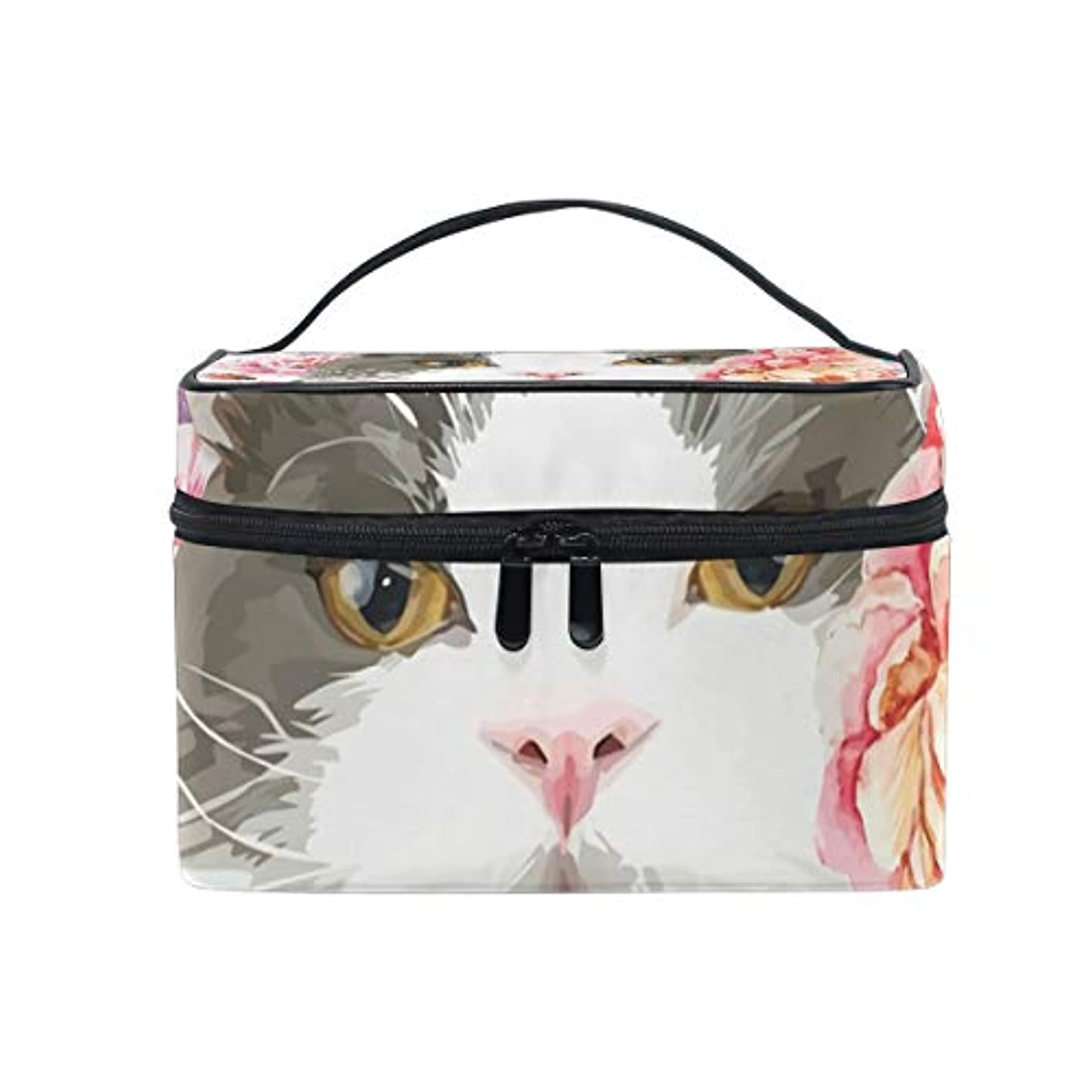 要件拘束するマイナーメイクボックス 猫柄 花柄 楽しみ柄 化粧ポーチ 化粧品 化粧道具 小物入れ メイクブラシバッグ 大容量 旅行用 収納ケース