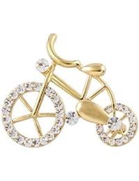 キラキラ ゴールド 自転車 ブローチ サイクリング好きの女性に