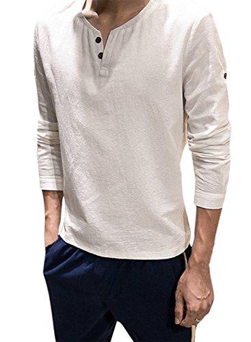(アザブロ)AZBRO メンズ カジュアル Vネック 長袖 麻 無地 Tシャツ