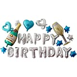 Lumierechat 誕生日 バルーン 風船 HAPPY BIRTHDAY セット パーティー デコレーション 装飾 撮影 a-5196(Happy Birthday/ブルー)
