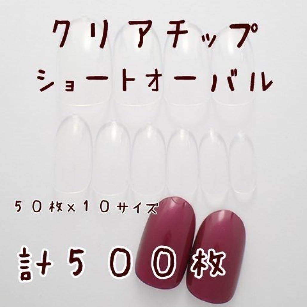 粘着性噴出する持ってるDINAネイル クリアネイルチップ【ショートオーバル】50枚×10サイズ計500枚 ネイルチップ