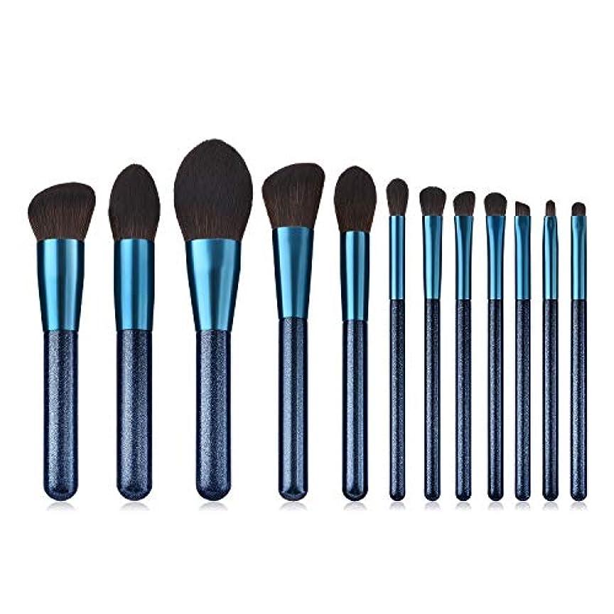 真似る考え独立してCHANGYUXINTAI-HUAZHUANGSHUA 12メイクブラシファンデーション、ブラシ高光沢プロファイルブラシブルー。 (Color : Sapphire Blue)
