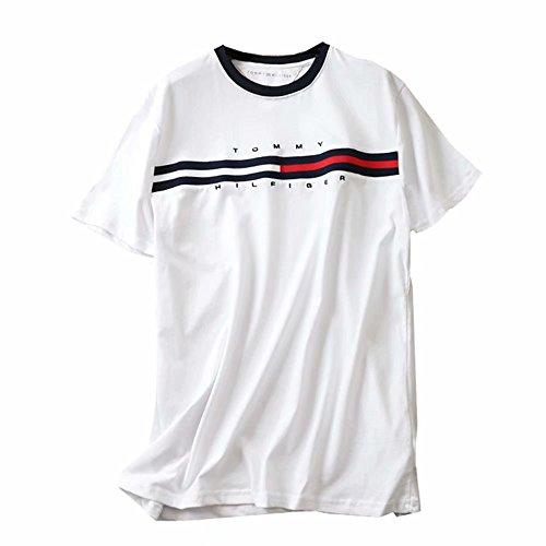 TOMMY HILFIGER Tシャツ 半袖 メンズ レディース ロゴTシャツ クルーネック トミーヒルフィガー コットン トップス シンプル ホワイト/S