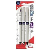 Pentel EnerGel Tradio Pearl Liquid Gel Pen, 0.7mm, Medium Line Capped, Violet, 3 Pack (BL117WBP3V) by Pentel