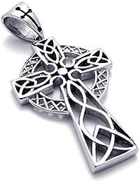 [テメゴ ジュエリー]TEMEGO Jewelry メンズステンレススチールヴィンテージペンダントゴシッククロスアイルランドノットネックレス、ブラックシルバー[インポート]
