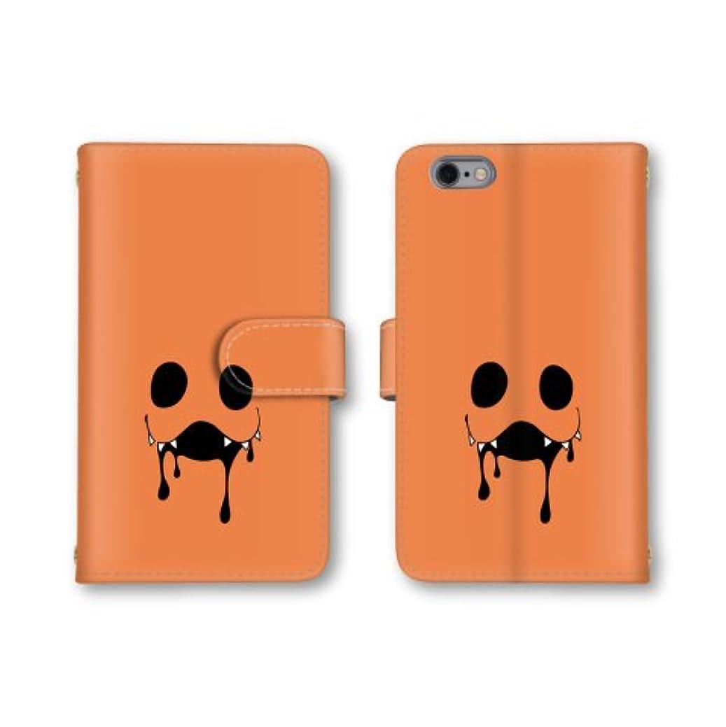 困惑火有効【ノーブランド品】 ZenFone Go ZB551KL スマホケース 手帳型 オバケ 顔 オレンジ 橙色 かわいい おしゃれ 携帯カバー ZB551KL ケース 携帯ケース ゼンフォン ASUS エイスース