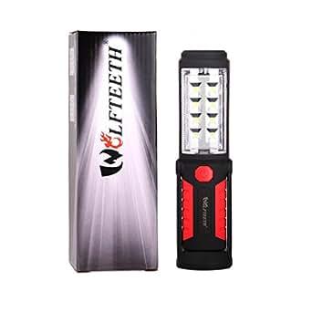 LED 作業灯 懐中電灯 ワークライト 強力250ルーメン 高出力LED×8基搭載 WOLFTEETH 先端LED付 フック&マグネットスタンド付 広角仕様 キャンプ アウトドア 4010