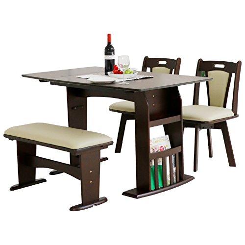 ダイニングテーブルセット 4点セット 伸縮テーブル ベンチ (ブラウン)