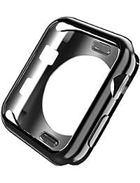 Apple Watch Series 3 ケースアップルウォッチケース 42mm TPU ウォッチ保護カバー 耐衝撃性 アップルウォッチアクセサリ (For 42mm, Black)