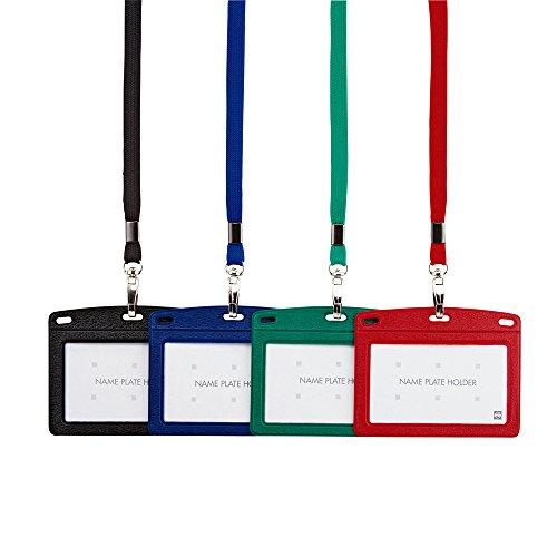 オープン工業 レザー調吊り下げ名札(名刺サイズ) 黒 N-123P-BK