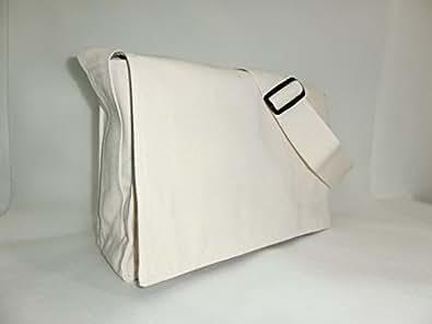 帆布学生ショルダーバッグ 台湾高雄市 書包帆布製学生カバン A4ファイル可 (アイボリーホワイト(生成り))