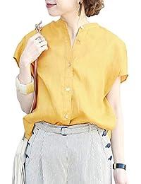 ブラウス レディース シャツ 半袖 綿麻 ポロシャツ ゆったり目 通勤シャツ カジュアル オシャレ 大人っぽく 春夏秋 柔軟吸汗