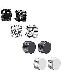 HENGYID 4 Pairs Stainless Steel Magnetic Stud Earrings for Men Women CZ Magnet Non Pierced Clip On Earrings Set 6MM