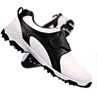 LUKEEXIN Golf Shoes Waterproof Spikes Less Shoes Antislip Magical Lining Wear Resistance Rotate Button Multi-Function Outdoor