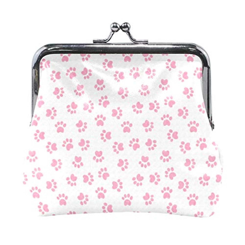 がま口 小銭入れ 財布 犬の足跡 ピンク コインケース レザー製 丸形 軽量 人気 おしゃれ プレゼント ギフト 雑貨