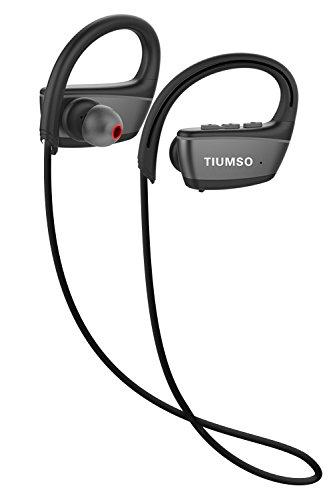 【防水進化版 IPX7水没防水対応】Tiumso Bluetooth イヤホン ヘッドホン 防水 ワイヤレス ブルートゥース スポーツ イヤホン ランニング用 水泳用 最大8時間再生 両耳 (ブラック)