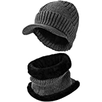VBG VBIGER 2-Pieces Winter Knit Hat Scarf Set Warm Thick Knit Caps with Visor for Men Women