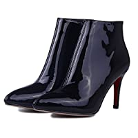 Nine Seven PatentレザーレディースStiletto Heel Pointed ToeドレスAnkle Boot with Side Zip カラー: ブラック