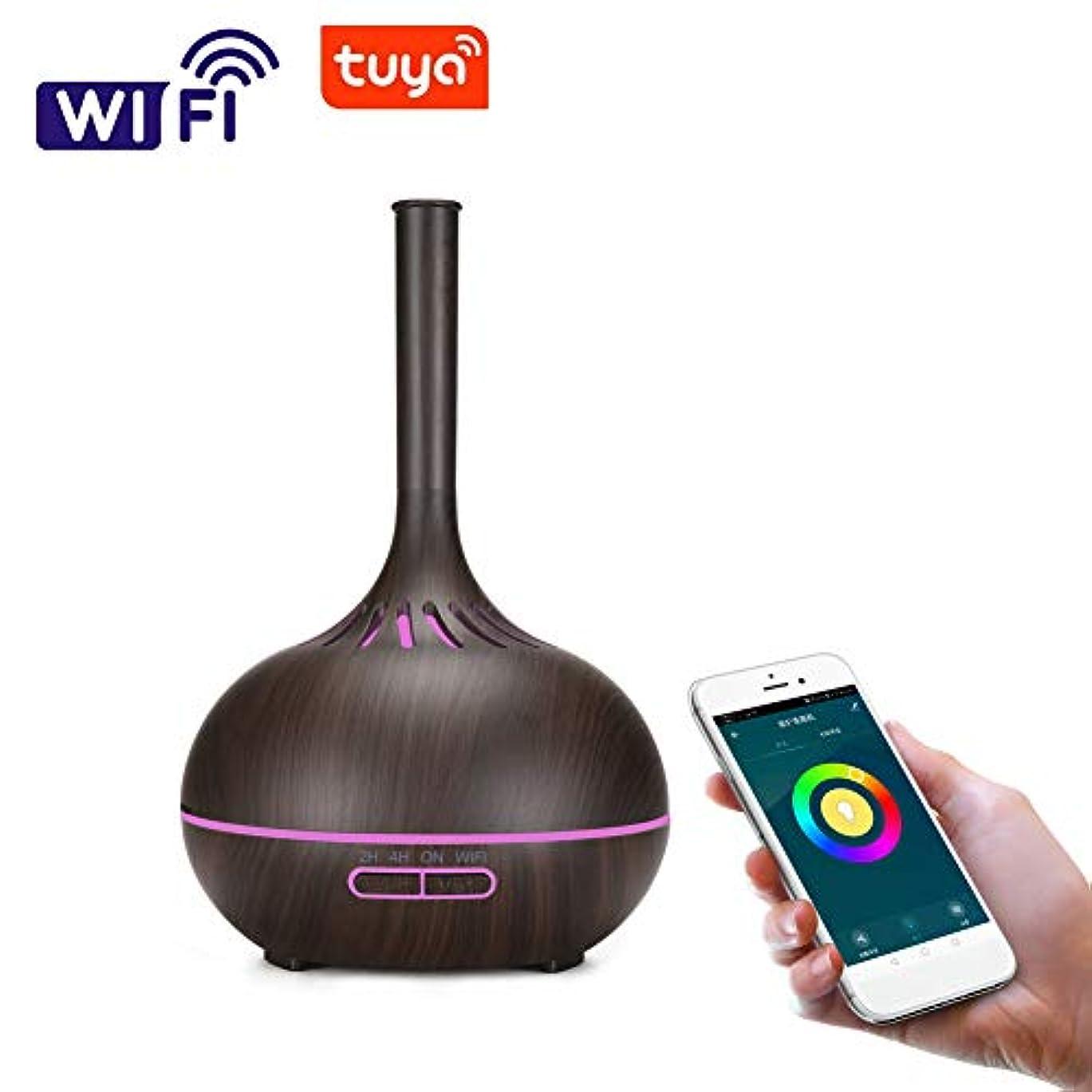 親密な建築応答木目 涼しい霧 超音波式 加湿器,wifi 7 色 香り 精油 ディフューザー 調整可能 空気加湿器 アロマネブライザー ホーム Yoga オフィス- 400ml
