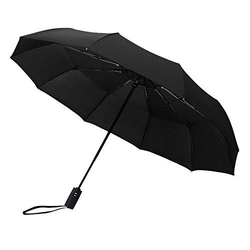 北川(Kitagawa) 折り畳み傘 晴雨兼用 軽量楽々 10本骨 自動開閉 耐強風 120cm (black)