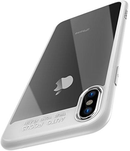 TOZO® iPhone X ケース iPhone 10 / X用 PC&TPU 超薄型 ハードケース 耐衝撃 クリアケース ホワイト[エッジ]