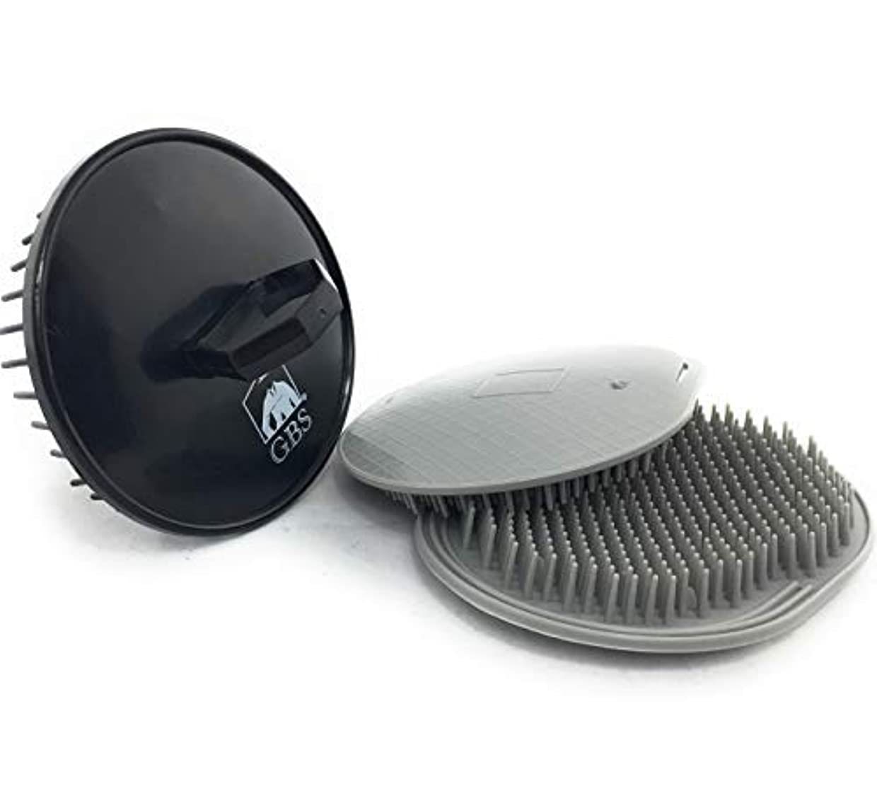 強います不潔パテGBS Soft Pocket Palm Brush. Massage and Head Scratcher. Made In USA 2-Pack - Gray Plus 1 Black Shampoo Brush -...